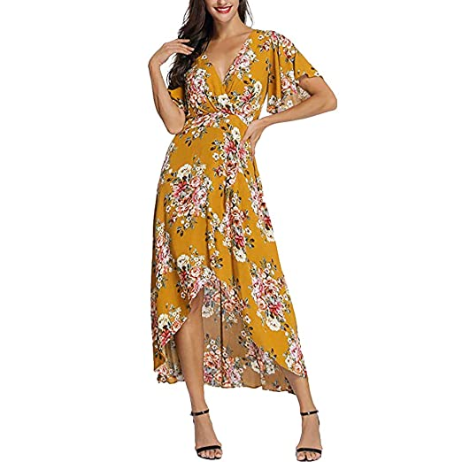 91940780d464 Amazon.com  BAOHOKE Loose V Neck Floral Print Midi Dresses