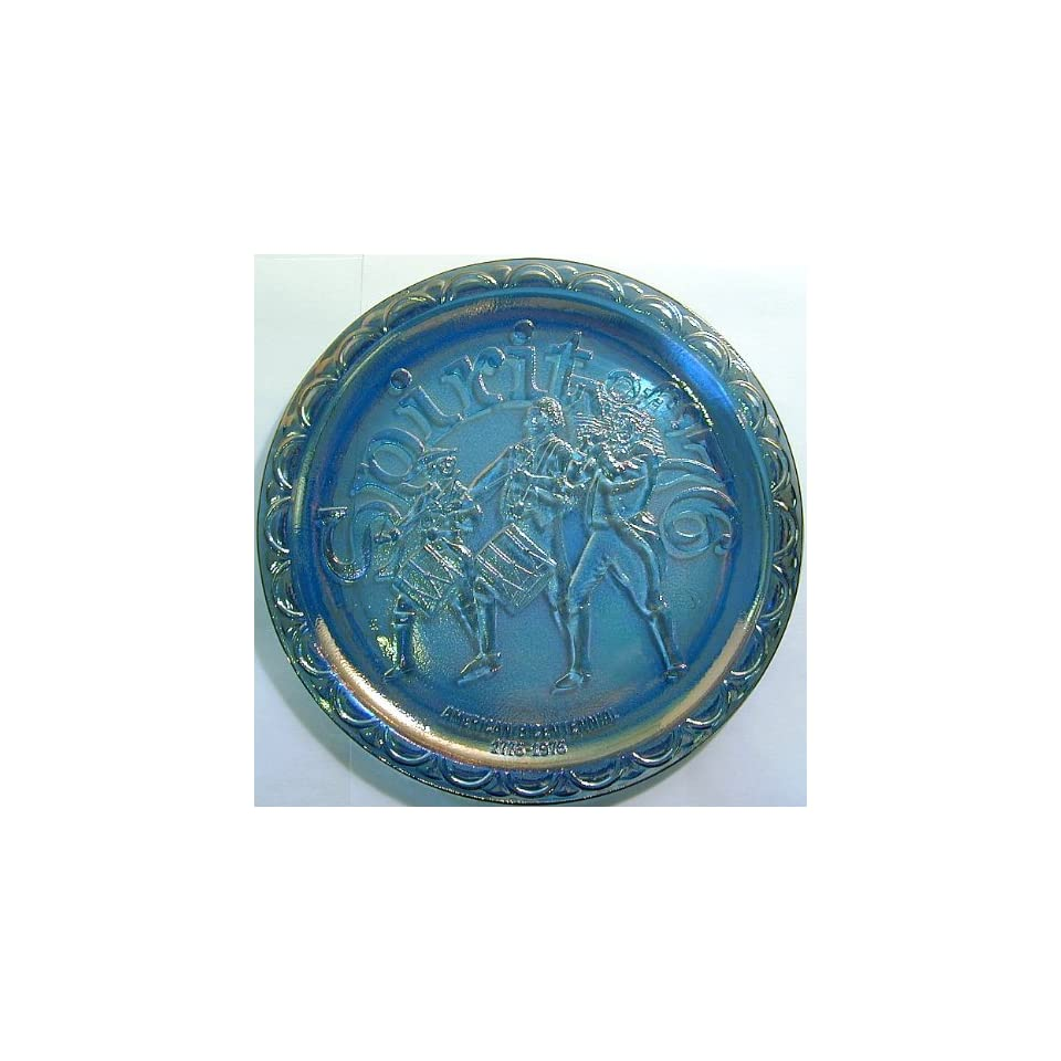 GL483   Indiana Glass Spirit of 76 blue carnival glass plate
