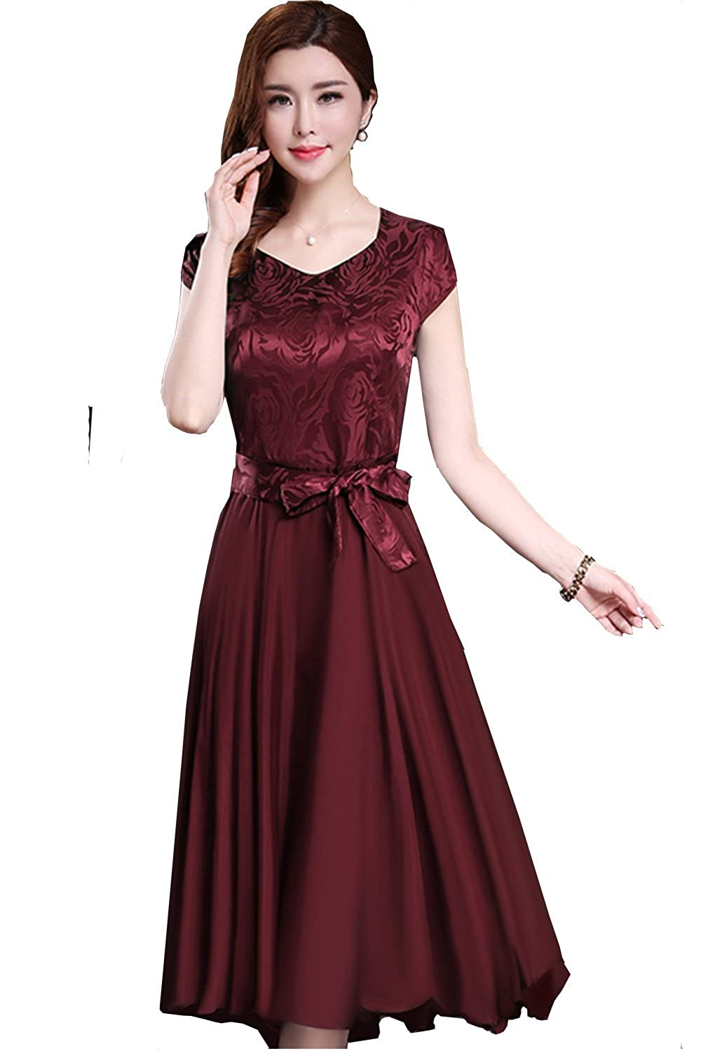 Unomatch Women Silk Printed Top Bow Waist Prom Dress Red Vine Small, Red