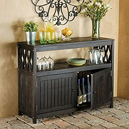 amazon com outdoor rustic espresso brown finish eucalyptus wood rh amazon com Stone Tables Outdoor Buffet Outdoor Buffets and Consoles