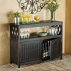 Outdoor Rustic Espresso Brown Finish Eucalyptus Wood Buffet Server Cabinet  Storage Console Table Cupboard Patio Furniture