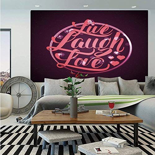 (Live Laugh Love Decor Wall Mural,Vibrant Romantic Vintage Stamp Inspired Circle Popular Saying Decorative,Self-Adhesive Large Wallpaper for Home Decor 83x120 inches,Coral Plum White)