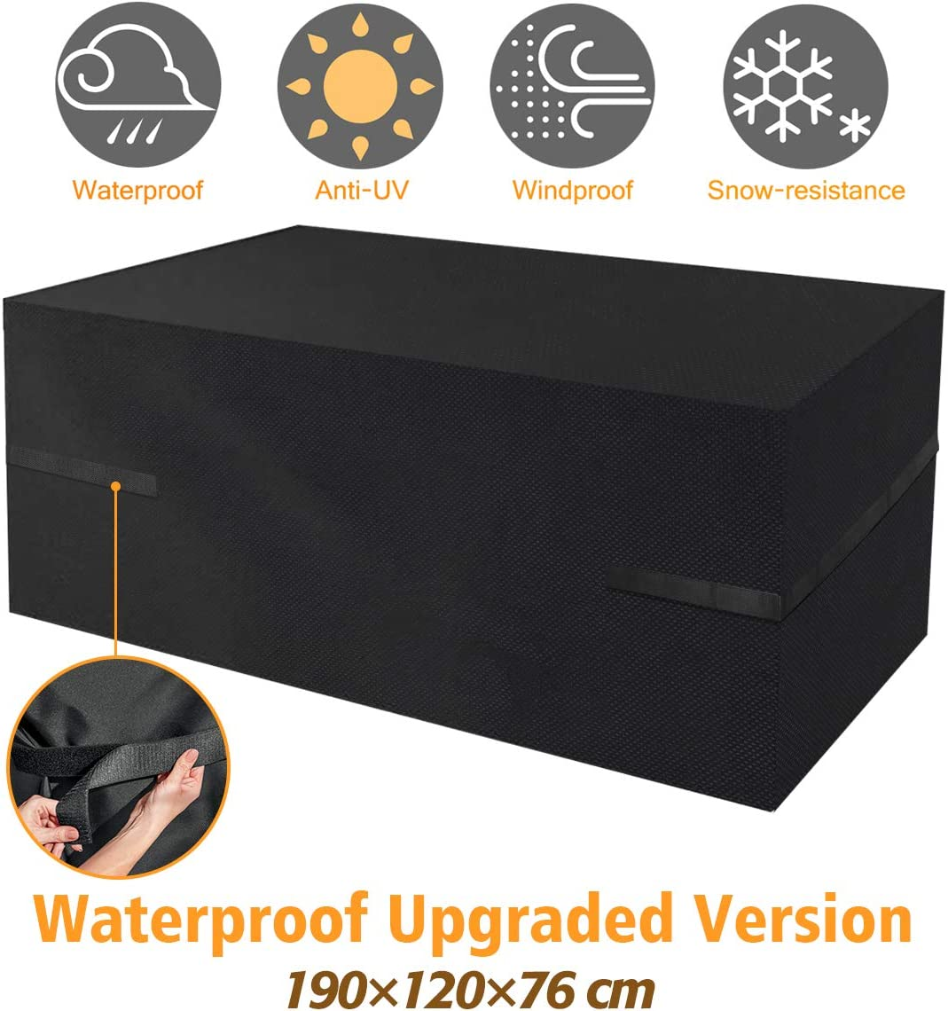 Tvird Funda Muebles Jardin Impermeable, Funda Muebles Exterior Impermeable 600D Oxford,Anti-UV, Resitente al Polvo, 190×120×74 cm -Negro