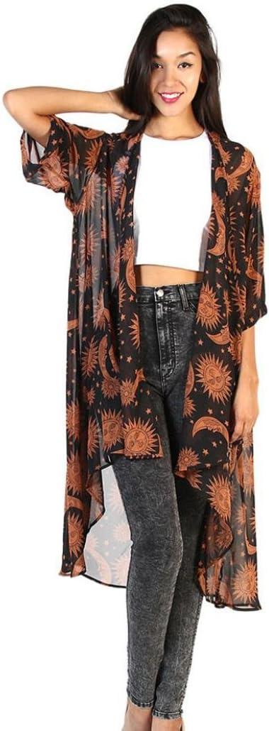 Manxivoo - Kimono de Gasa para Mujer con Estampado de Sol y Luna ...
