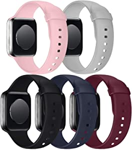 5 Pack Band Compatible with Watch 42mm 44mm Bands, Silicone Sport Strap Replacement Women Men for Watch Series SE 6 5 4 3 2 1 - Black/Grey/Midnight Blue/Wine Red/Pink Sand, 42mm 44mm M/L