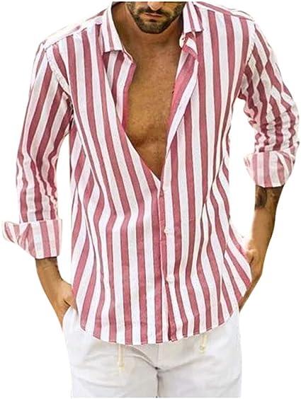 Camisa de manga larga Slim Fit sexy, cuello en V, a rayas, estilo ...