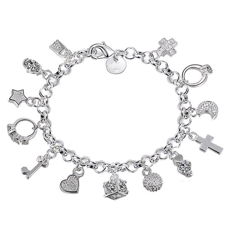 Hosaire 1x Damen Armband Mode Bracelet Dreizehn Hängenden Stücke Wristband Silber Bangle Armbänder