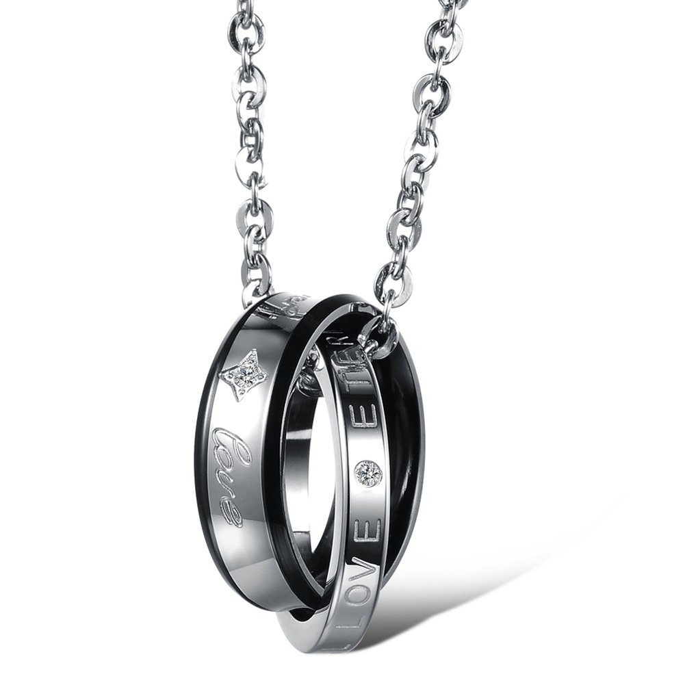 Mintik Jewelry Stainless Steel Mens Womens Matching Couple Engraved Forever Love Ring Pendent Necklace