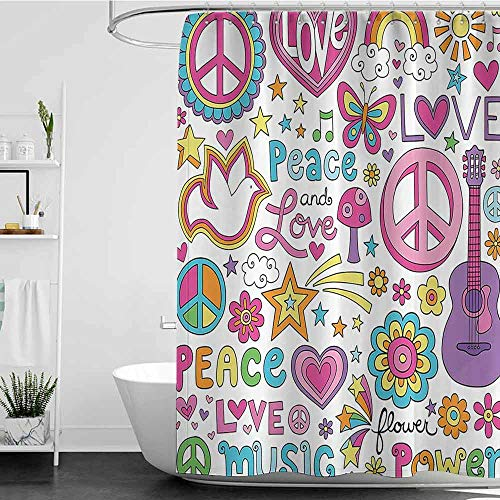 shower curtains for bathroom with valance 1960s Decorations Collection,Sunlights Sunny Floral Birds Guitar Flower Power Stars Quotes Peace Love Image,Pink Yellow Blue W72