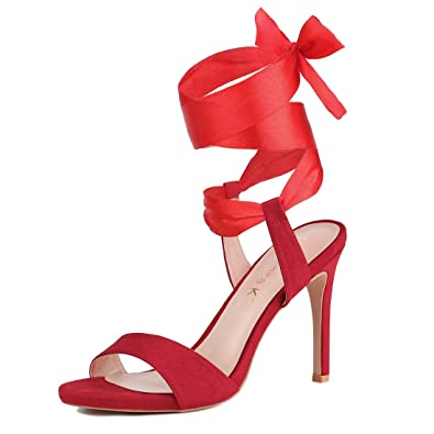 4940f97936ecd Amazon.com | Allegra K Women's Satin Lace up Stiletto Heel Sandals ...