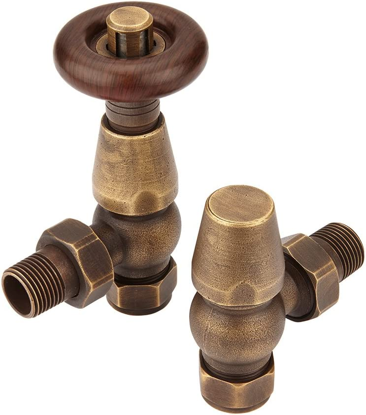 Par de Llaves Angulares Termost/áticas en Cromo para Radiadores y toalleros con Acabado en Bronce