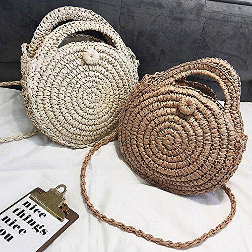 Beach Straw Travel Creamy Crossbody Women Handmade Weave Bag Crochet Zipper Shoulder Straw Bags Bag Bag for Purse Handbags Summer Tote with White Ladies Round Leegoal rxwgrOqa