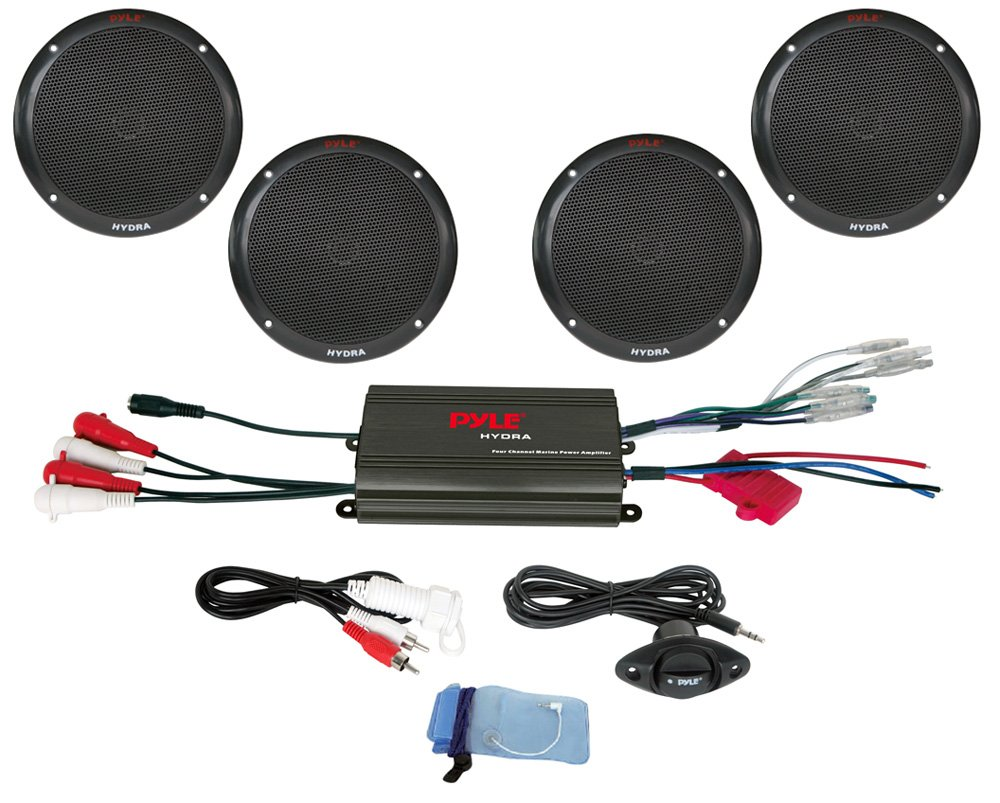 Pyle 4 Channel 800W Waterproof Micro Marine Amplifier and 6.5-Inch Speaker System PLMRKT4B Sound Around