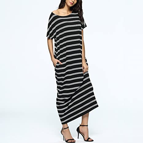 Zhuhaitf Striped Long Maxi Tunic Dress Shirt Kaftans Dresses & Pocket For Women at Amazon Womens Clothing store: