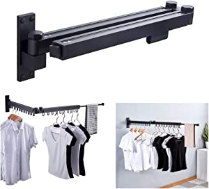 uyoyous Wall Mounted Space-Saver Retractable Fold Away Clothes Drying Rack Clothes Hanger for Indoor/Outdoor Balcony Laundry Bathroom and Bedroom,Easy to Install - Black