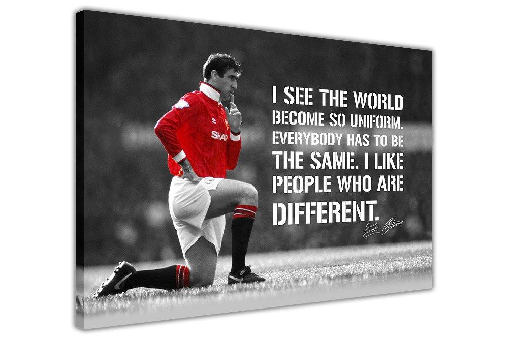 Eric Cantona und und und Zitat auf Rahmen Leinwand Prints Art Wand Sport Bilder Fußball Legend, weiß, 06- 40