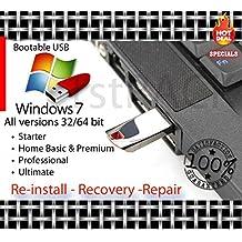 Windows 7 All Versions 32-64bit Reinstall Recovery USB Flash Drive & DVD