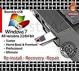 Software : Windows 7 All Versions 32-64bit Reinstall Recovery USB Flash Drive & DVD