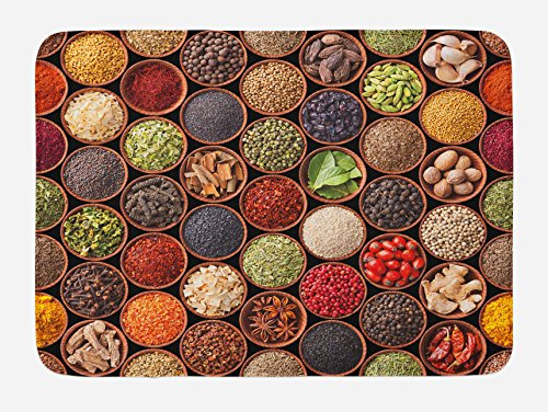 Ambesonne Retro Bath Mat, Colorful Herbs and Spices Cardamom Pepper Chili Ginger Dill Natural Cuisine Print, Plush Bathroom Decor Mat with Non Slip Backing, 29.5