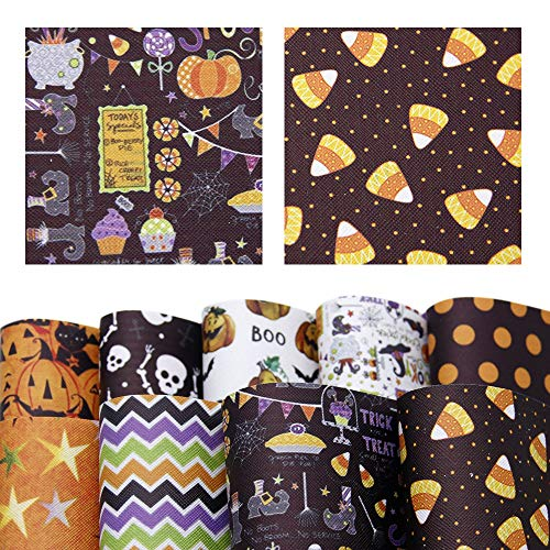 David accessories Halloween Pumpkin Printed Faux Leather Sheets Fabric Non-Woven Back 9 Pcs 8