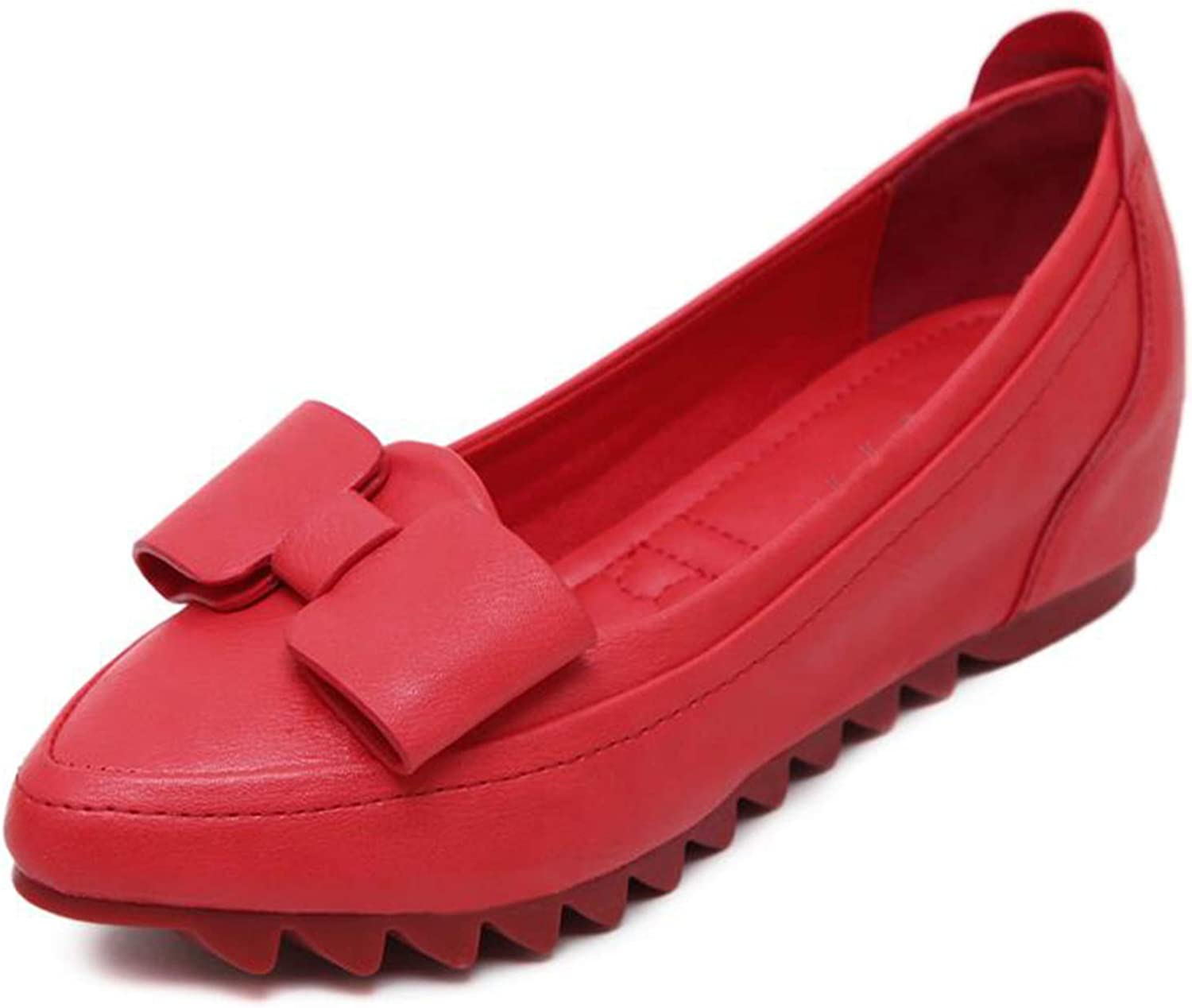 Size 33-42 Spring Autumn Woman Leather Shoes Lady Leather Shoes Soft Woman Flats Red