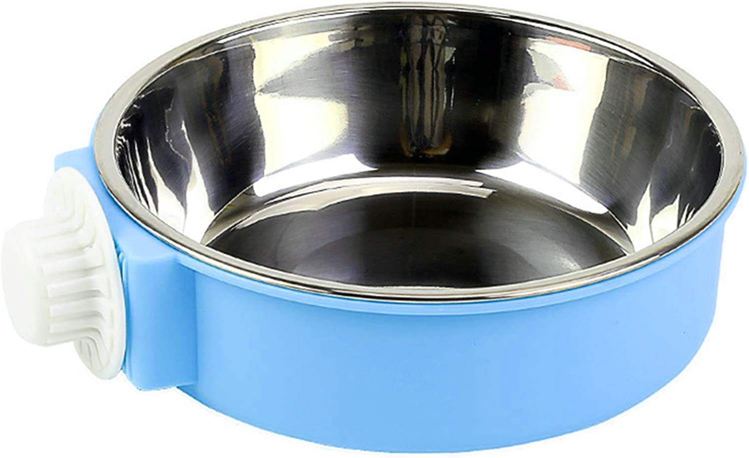 Lucky Interests Crate Dog Bowl, 2-in-1 Plastic Bowl & Stainless Steel Bowl Removable Hanging Food & Water Feeder Cage Bowl Coop Cup for Cat, Puppy, Birds, Parrot, Guinea Pigs (Blue)