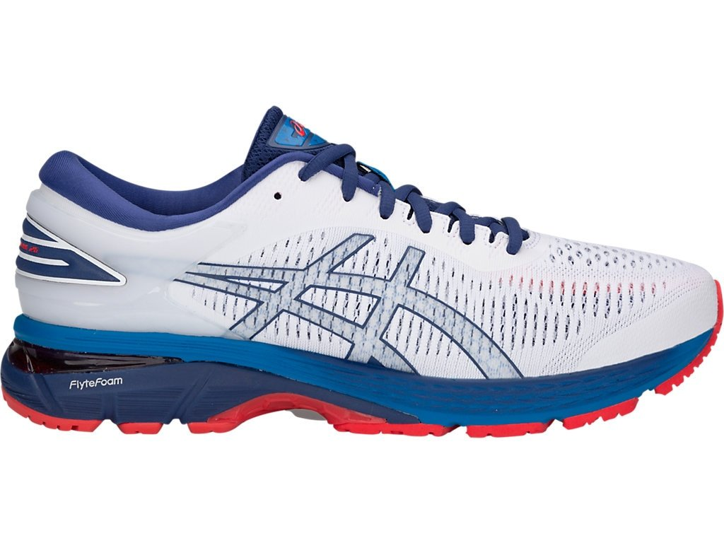 ASICS Gel-Kayano 25 Men's Running Shoe B077MDLHQC 8.5 D(M) US|White/Blue Print