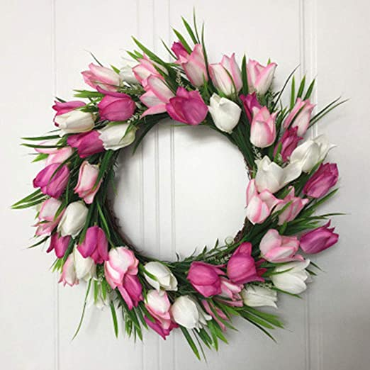 Wedding Home Decoration Simulate Tulip Wreath Hand Made Hanging Pendant Window