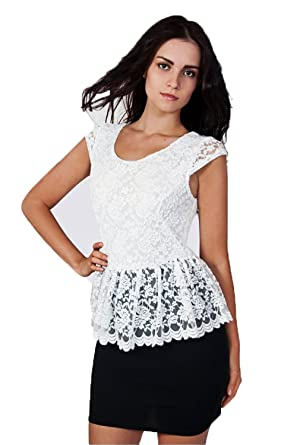 Anaya Lace Peplum Dress In Black & White The Fashion Bible qcPRrtaH