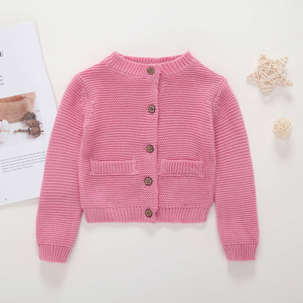 sunnymi Toddler Infant Baby Boy Girl Botton Warm Knitted Solid Tops Cardigan Sweater Outfit Coat