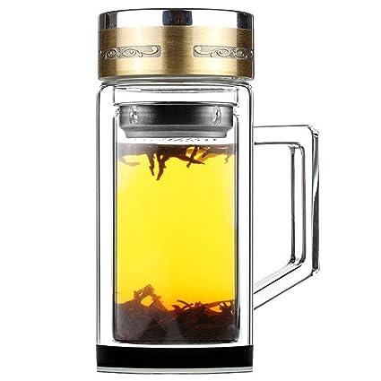 SELEWARE Deportes Botella de Cristal de Vidrio con Infusor de Frutas,con Filtro Colador para Té, con Funda, Jarra de Café, 0,40 L