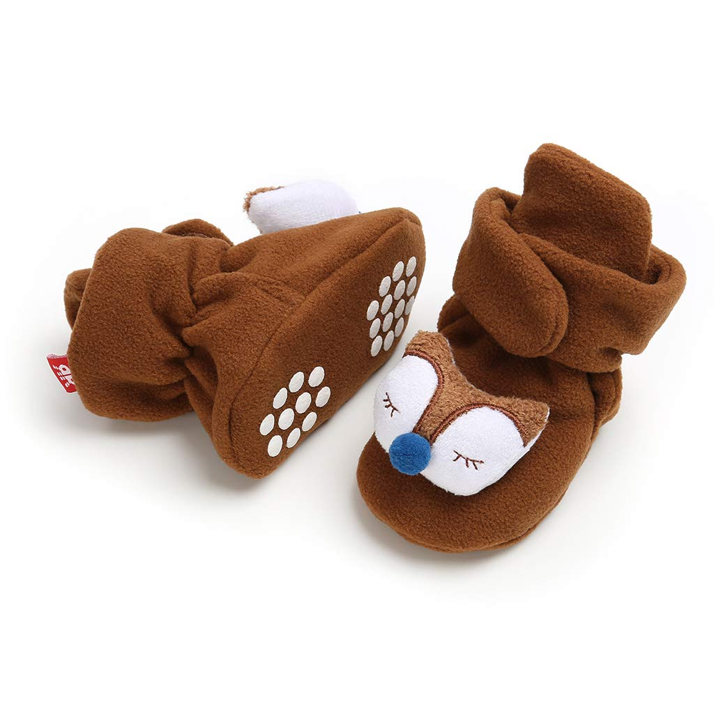 Heartell Baby Boys Girls Non-Slip Prewalker Shoes,Cute 3D Cartoon Soft Sole Baby Cotton Shoes Warm Fleece Ankle Booties 0-18Months