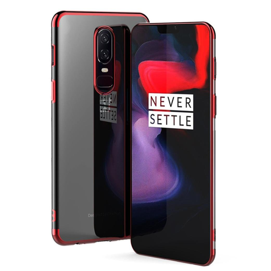 Amazon.com: For OnePlus 6 Case Ultrathin Luxury Plating Clear Back Hybrid Soft TPU Cover by Voberry (Black): Clothing