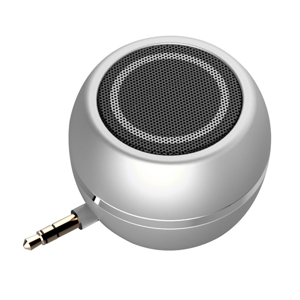 Rumfo Mini Phone Speaker Portable Wireless Plug in Speaker with 3.5mm Aux Audio Jack Rechargeable Plug and Play Clear Bass Speaker Universal For Cell Phone iPad MP3 MP4 Tablet Computer (Silver) by Rumfo