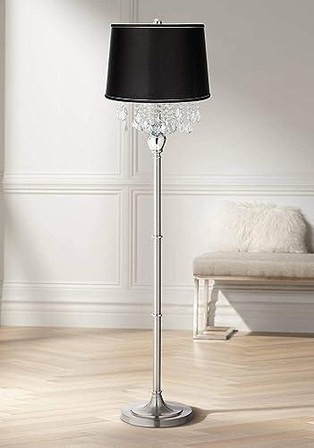 Modern Floor Lamp Satin Steel Chrome Crystal Chandelier Black Satin Fabric Drum Shade