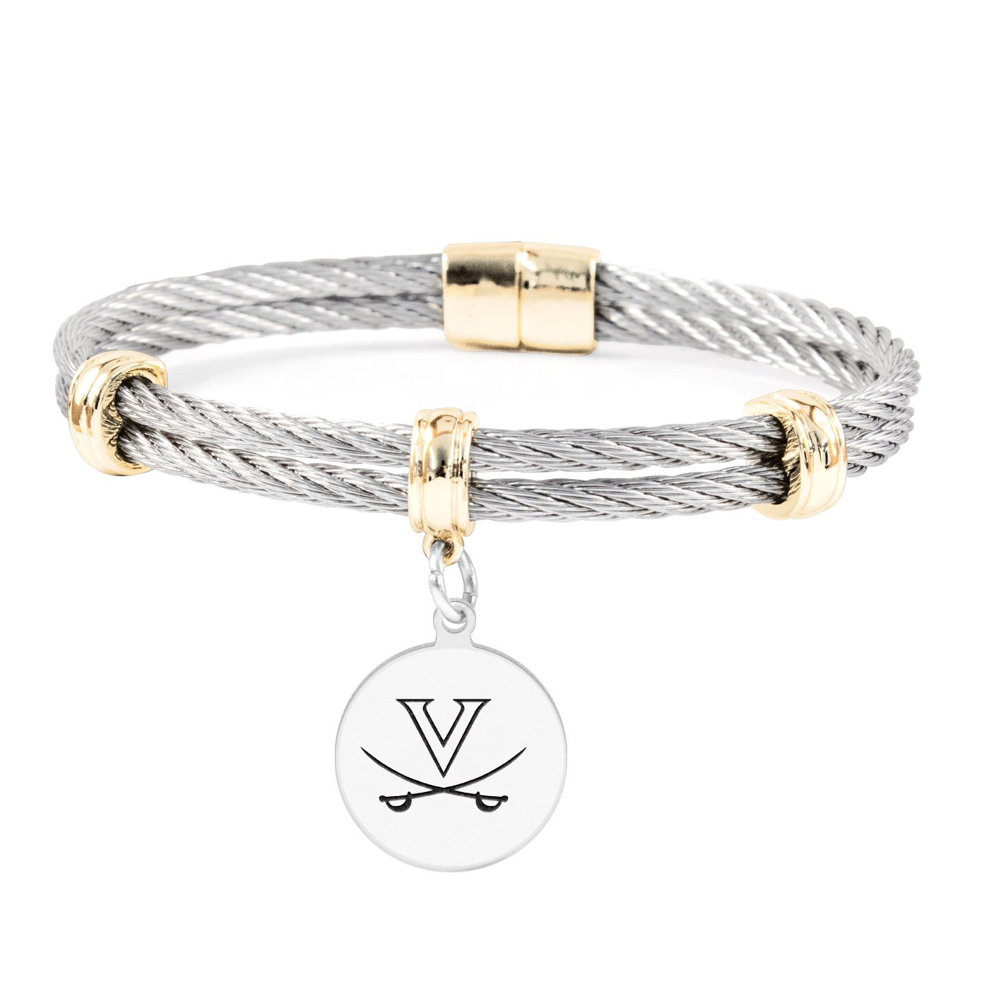 Stainless Steel Magnetic Clasp Bangles University of Virginia Cavaliers Round Charm Bracelet