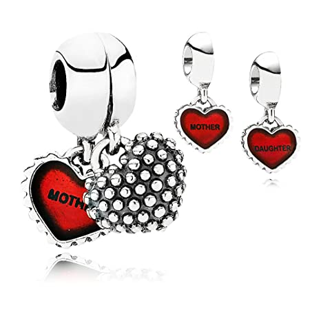 334d0e3df0780 PANDORA Piece Of My Heart, Mother/Daughter, Red Enamel Charm Pair