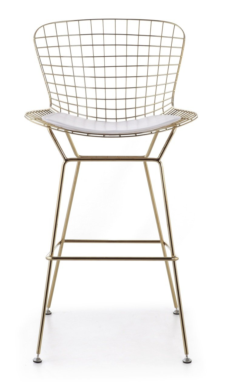 amazoncom bertoia style wire barstool in gold finish (white pad) kitchen dining. amazoncom bertoia style wire barstool in gold finish (white pad