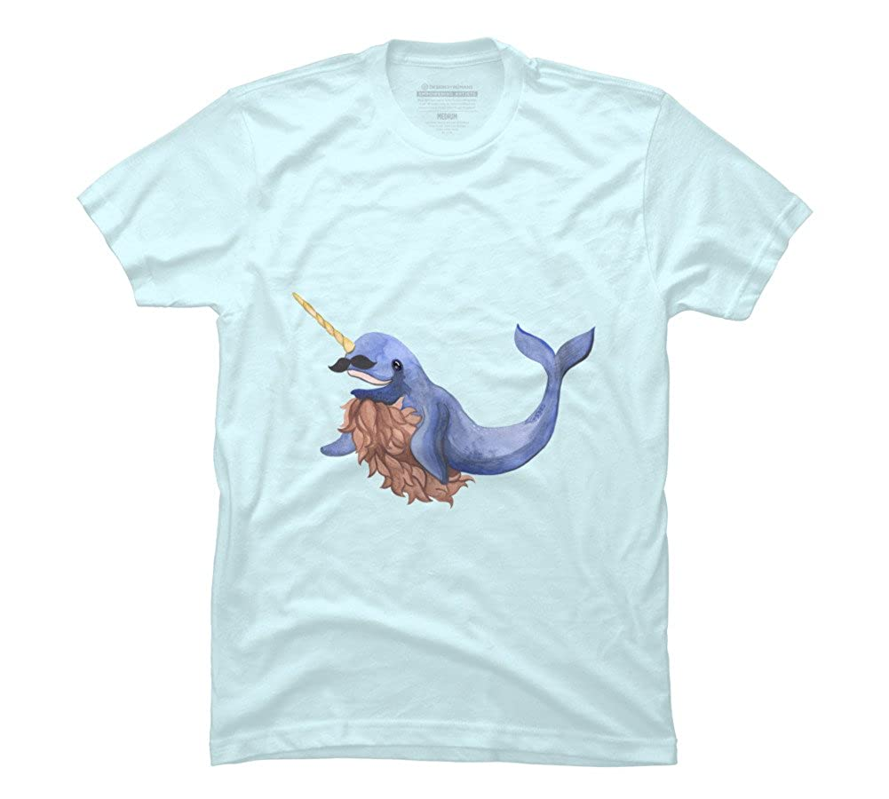 5cfd96bf7 happy moustache narwhal Men's Medium Light Blue Graphic T Shirt: Amazon.ca:  Clothing & Accessories