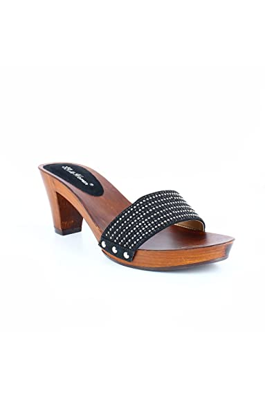 74a4309c3d71f Mules à talon en bois et strass noir  Amazon.fr  Chaussures et Sacs