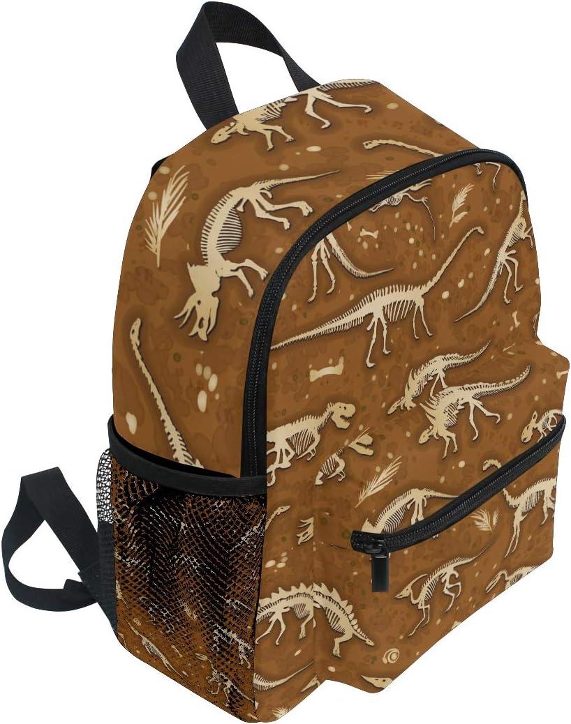 Kids Backpack Cretaceous Period Dinosaurs Brown Print School Bags Boy Daypack