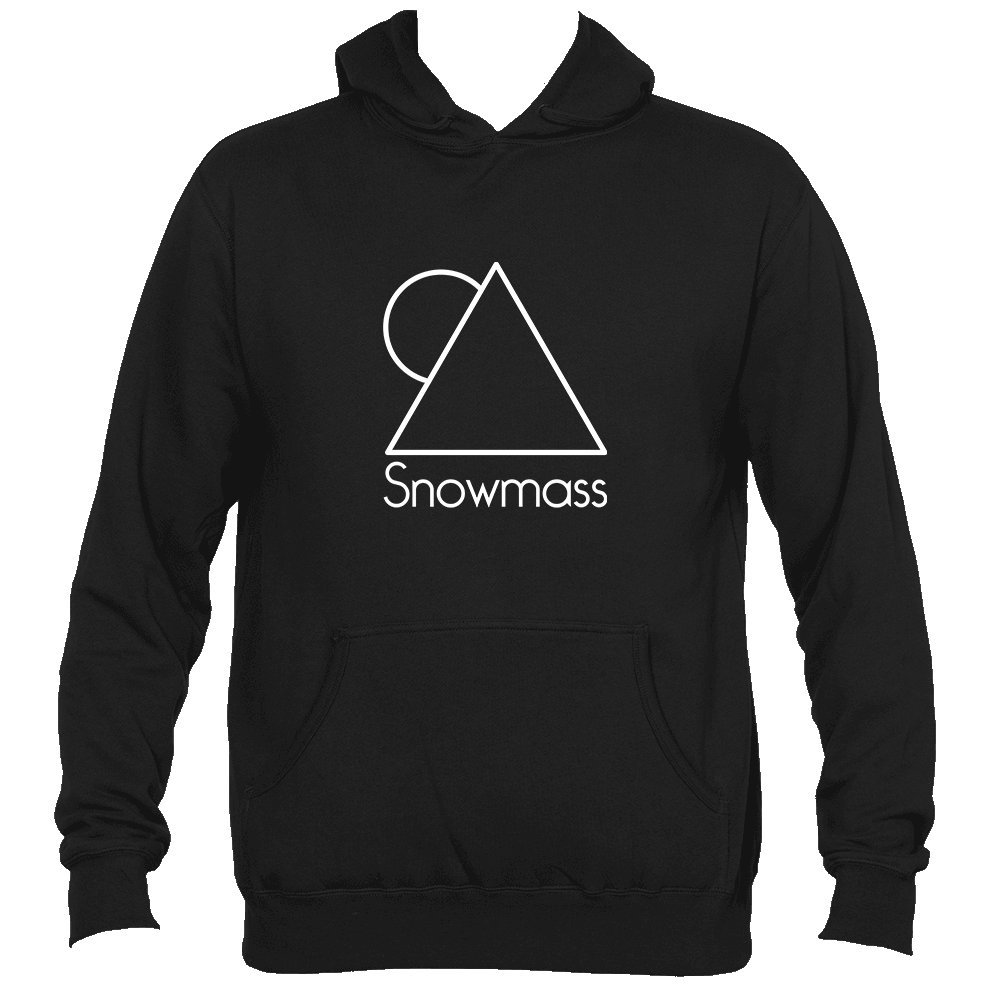 Snowmass Colorado White Minimal Mountain and Sun Mens Hooded Sweatshirt//Hoodie