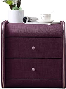 Furniture Special Design - Nightstand,Bedside Table Fabric-Nightstand Drawer Locker Decorative Display Cabinet Table (Color : Purple)