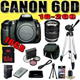 Canon EOS 60D 18 MP CMOS Digital SLR Camera w/ Canon EF-S 18-200mm f/3.5-5.6 IS Standard Zoom Lens LPE6 Battery/Charger Filter Kit 16GB DavisMAX HDMI Bundle