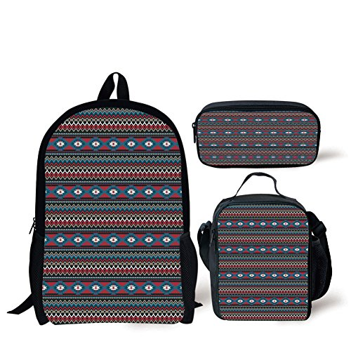 School Lunch Pen Bags,Native American,Primitive Style Aztec Folkloric Striped Design Antique Maya Patterns,Black Blue Coral,Personalized Print