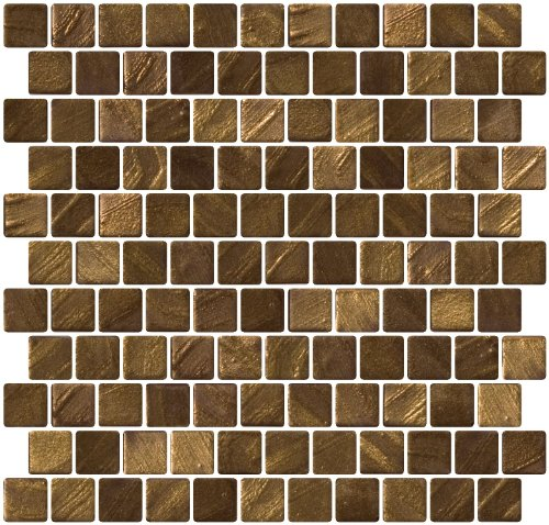 Susan Jablon Mosaics - 1 Inch Bronze Gold Recycled Glass Tile Reset In Offset Layout