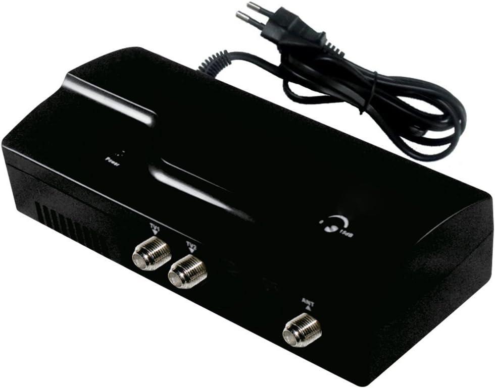 Noir Amplificateur dantenne HD avec amplificateur de Signal HD Digital pour t/él/évision par c/âble Fox 25db