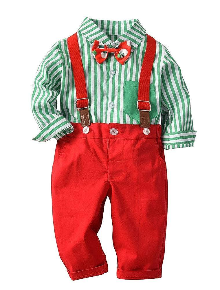 ARAUS Costume Bébé Enfant + Bavoir Papillon en Coton à Rayures Mariage de Noël en 2 Pièces 6 Mois-3 Ans