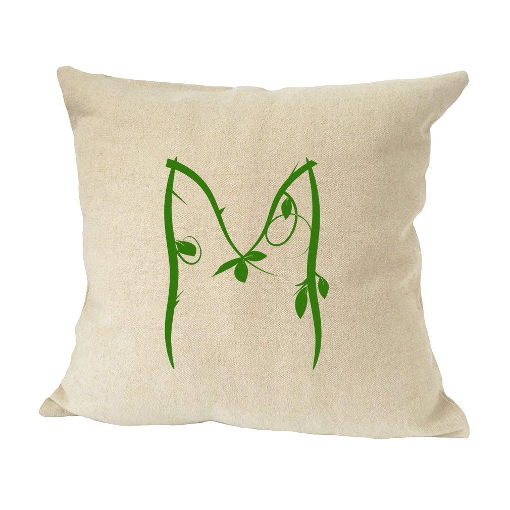 ''M '' Wood Branch Green Monogram Letter M Bed Home Decor Faux Linen Pillow Cover