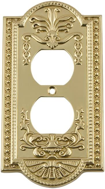 Nostalgic Warehouse 719932 Meadows Switch Plate with Outlet, Polished Brass